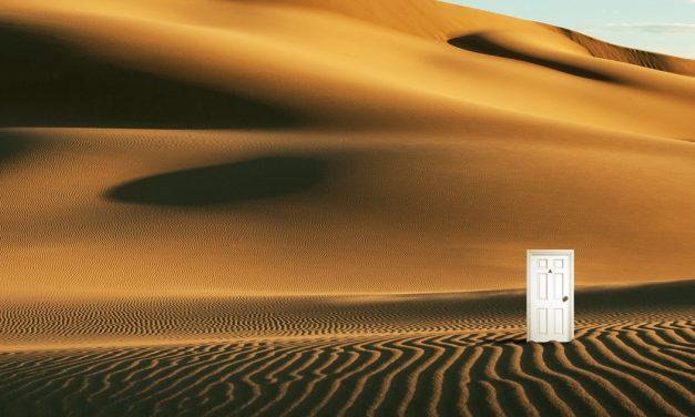 Strange White Door seen in the Gobi Desert